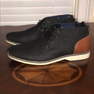 Other - Men's Black Denim Boot Dress Lace Up Shoe